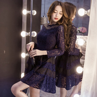 Elegant Women Clothing Lace Sexy Long Sleeves Dresses Temperament for Ladies Party Club Slim Underwear Solid Purple Color