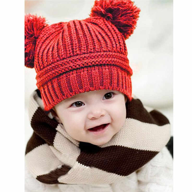 TELOTUNY Cute Baby Kids Girl Boy Dual Balls Warm Winter Knitted Cap Hat Beanie New fashion design Very popular  S3FEB13