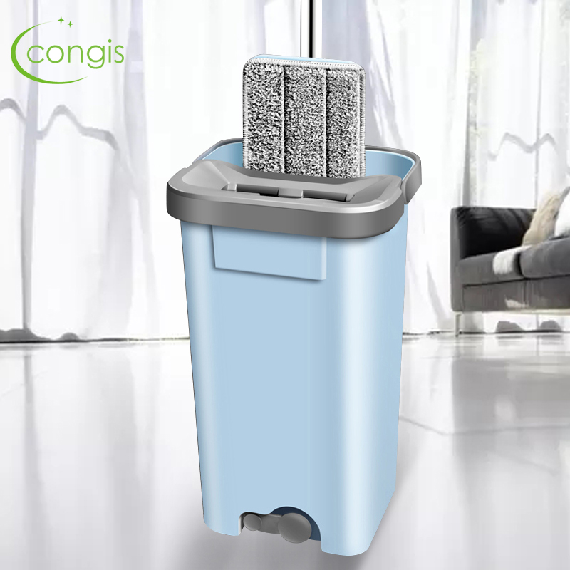 Congis Squeeze Lazy Spinning Mop bucket with microfiber Pads Hand wash free Magic Self-extruding For kitchen Floor Cleaning