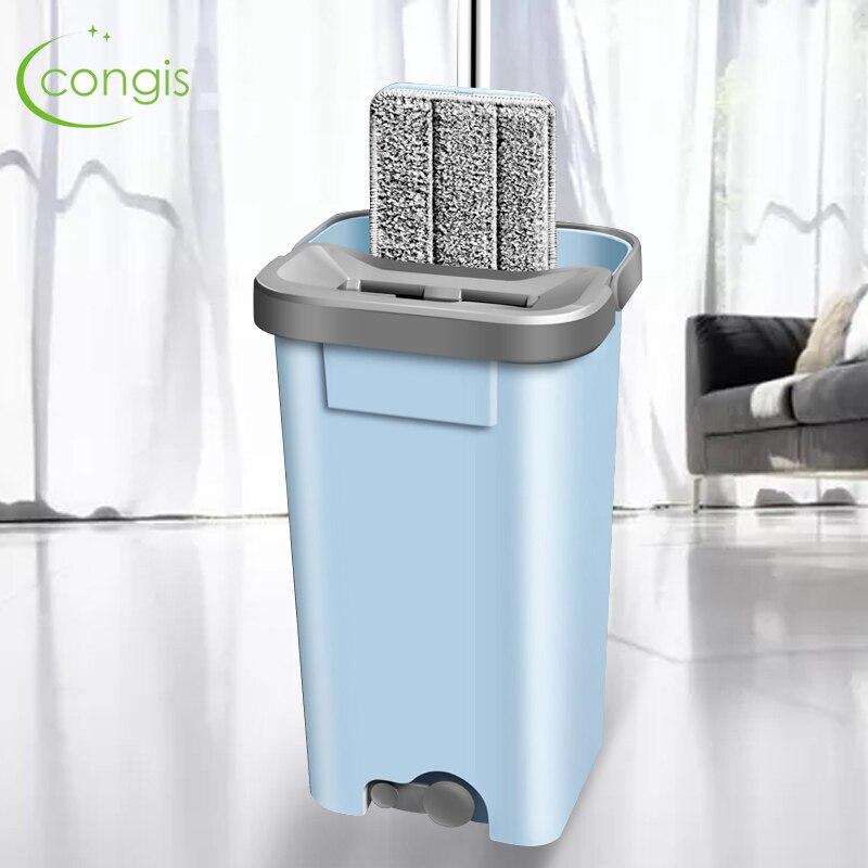 Espremer Congis Preguiçoso Girando balde Mop com Almofadas de microfibra lavar a Mão livre Magia Auto-extrusão Para A cozinha De Limpeza De Pavimentos
