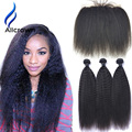 Kinky Straight Hair With Closure Alicrown Hair Brazilian Lace Frontal Closure With Bundles Kinky Straight 3 Bundles With Closure