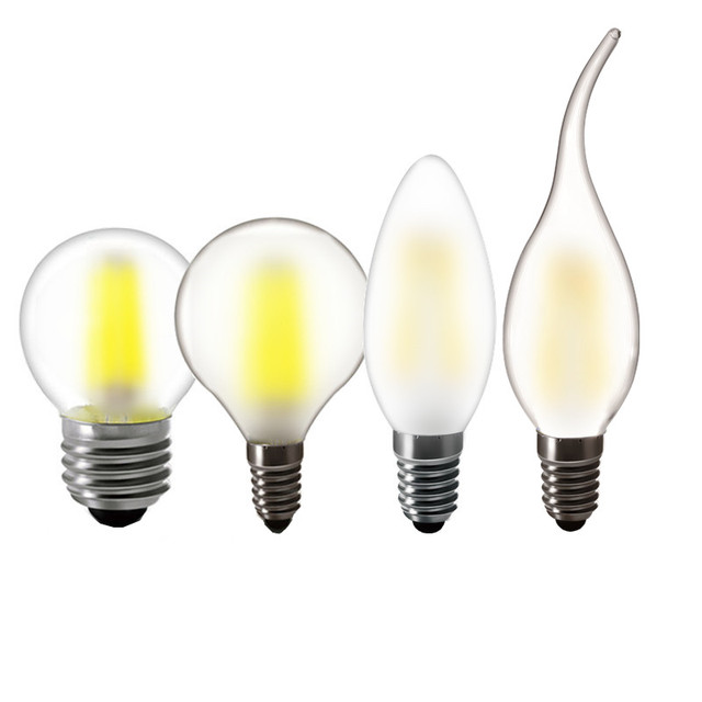 2w 4w 6w 8w E27 E14 Clear LED Bulb A60 G45 C35 B10 220v AC Frosted LED Filament flame candles Lamp light 230v AC