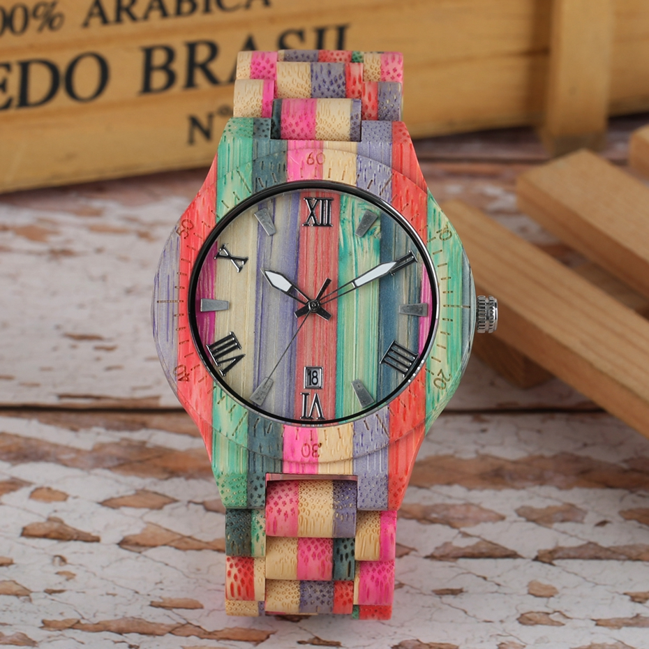 Unique Colorful Men Bamboo Watches Lovers Handmade Natural Wooden Bracelet Quartz Analog Luxury Wristwatches Ideal Gifts Items  (5) -