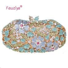 Fawziya Luxus Marke Tasche Blume Blätter Bling Kristall Abendtaschen Blume Handtasche