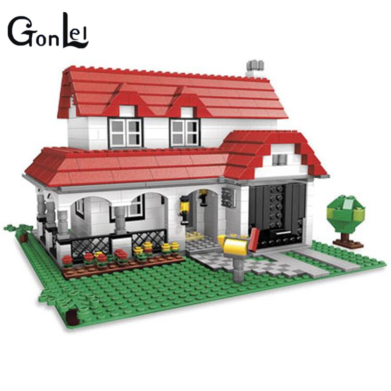 (GonLeI) 24027 761Pcs Building Series American Style House Villa Building Blocks Compatible 4956 Brick Toy a toy a dream lepin 24027 city series 3 in 1 building series american style house villa building blocks 4956 brick toys