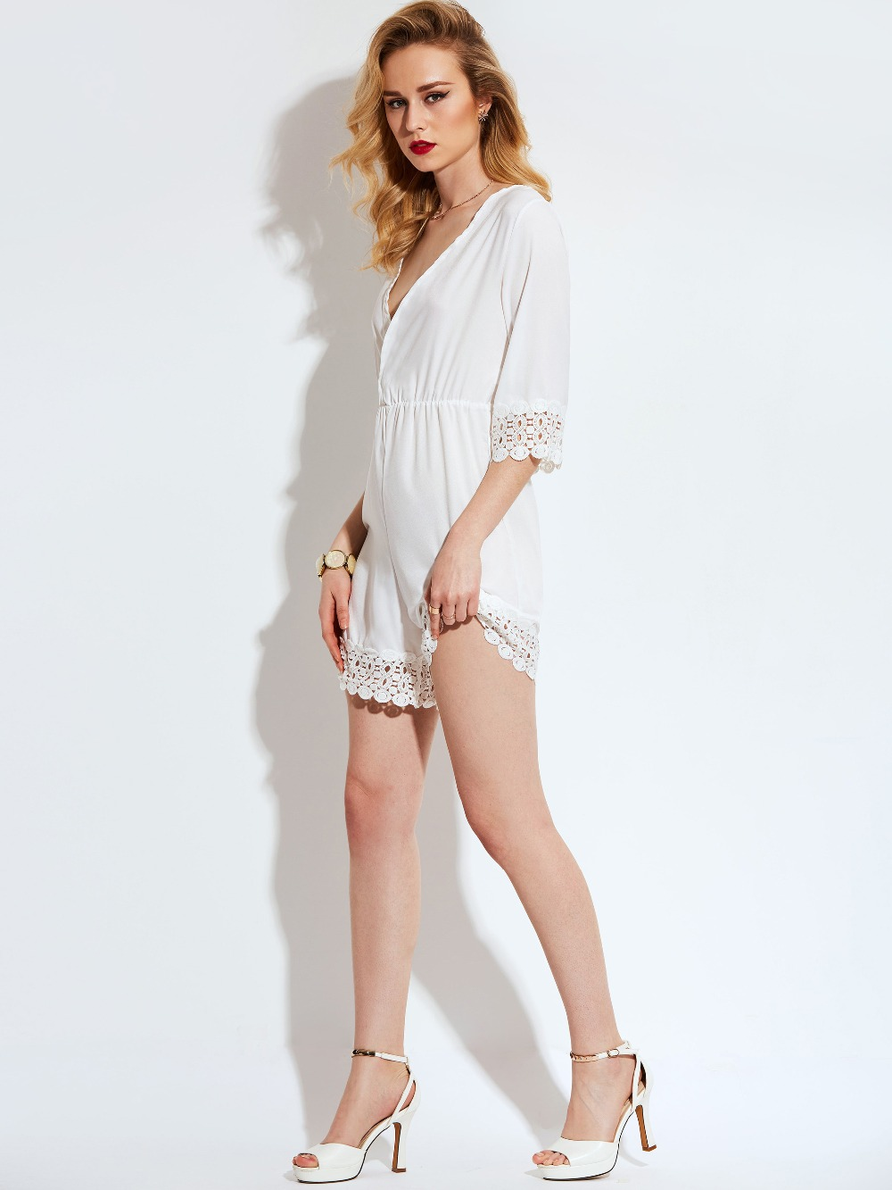 4f4608adda2 Vintacy Women White lace playsuits short V Neck Sexy Jumpsuits Romper  Summer Ladies half sleeve loose Casual Jumpsuits Playsuit