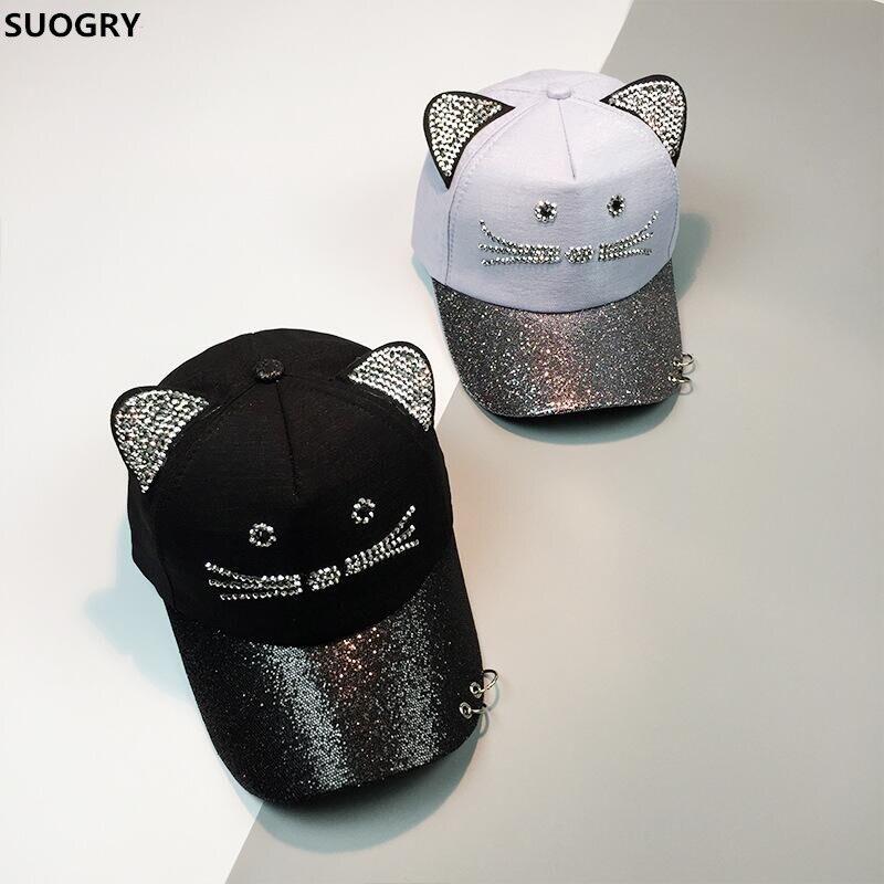 SUOGRY Rhinestone Snapback Cute Cat Ears Cartoon   Baseball     Cap   Women Casual Sun Hat Gorras Bones Casquette for Woman
