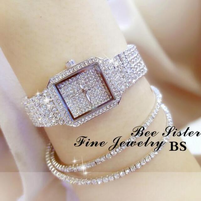 2017 New Luxury Women Watch Full Rhinestone Quartz Watch Fashion Lady Diamond Dress Wristwatches High Quality Square Clock reloj