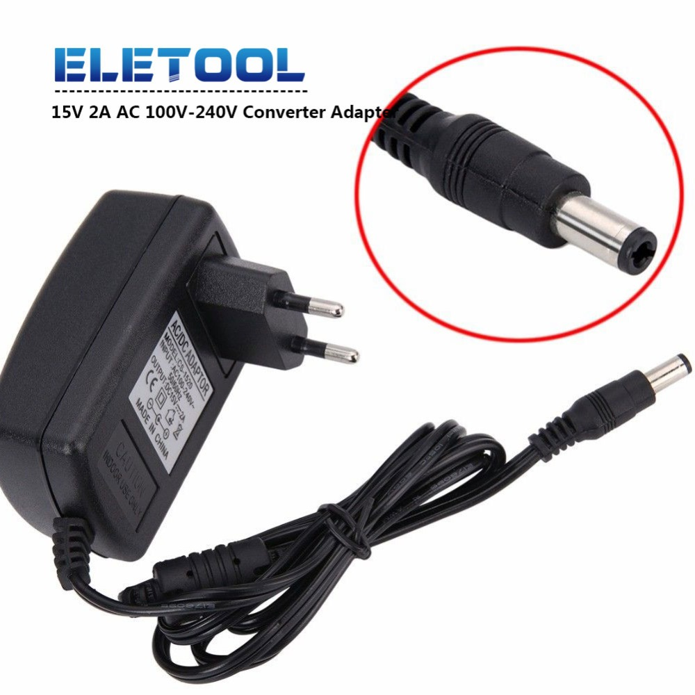 15V2A AC 100V-240V Converter <font><b>Adapter</b></font> DC <font><b>15V</b></font> 2A 2000mA Power Supply EU Plug 5.5mm x 2.1-2.5mm PN34 image