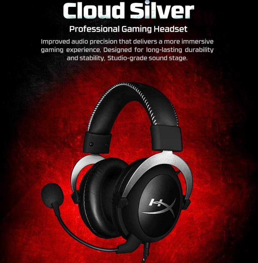 Kingston Nuvem Prata Pro Gaming Fone De Ouvido com Microfone Controle de Volume do fone de Ouvido Plugue de 3.5mm Auriculares Steelseries