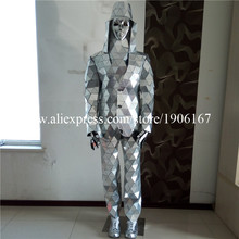 Catwalk Shows Men Silver Color Stage Ballrooom Costume Mirror Man Clothing Party Halloween Performance DJ Singer