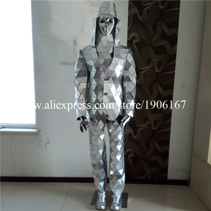 Catwalk Shows Men Silver Color Stage Ballrooom Costume Mirror Man font b Clothing b font Party