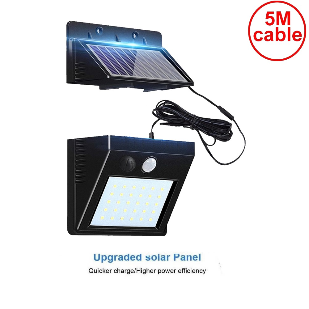 30 Led 500lm Solar Light Split Mount PIR Motion 3 Sensor LED Solar Wall La IP Street Wall Indoor Lamp Bulb Strings For Patio New