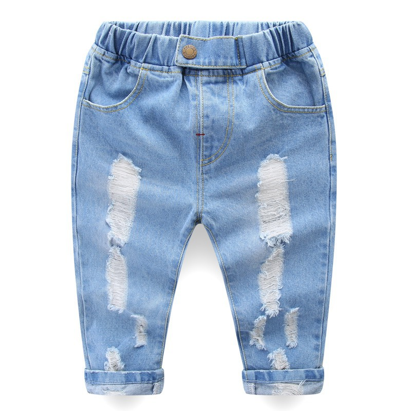 Summer 2019 New Toddlers Infant Kids Ripped  Denim Shorts Baby Boys Girls Long Pants Sports Trousers Bottoms 2-8 Years(China)
