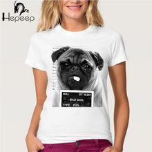 New 2017 Summer BAD DOG PUG Design T Shirt Women's High Quality French Bulldog Tops Hipster Tees