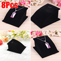 Hot Mini PU Leather/Velvet New Necklace Bust Jewelry Pendant Chain Display Stand Tools Holder White/Black 8pcs/lot