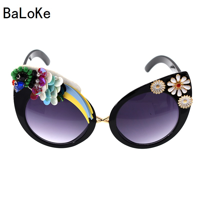 Baroque Big Designer Handmade Vintage Cat Sungalsses Flower&Rhinestone Luxury ladies Sunglasses Beach&Party Women Sunglasses ...