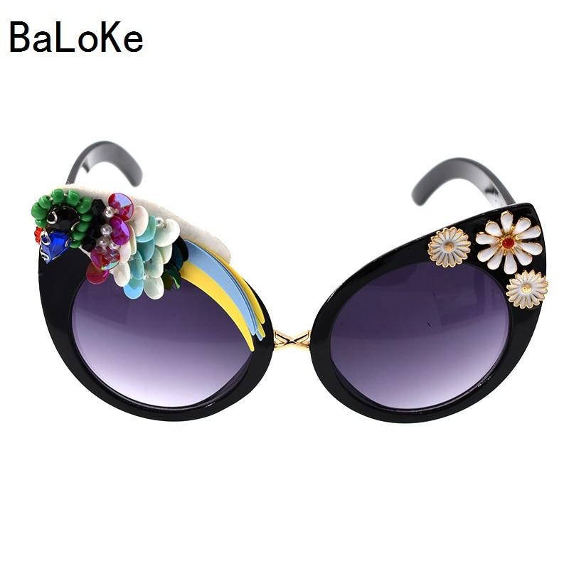 Baroque Big Designer Handmade Vintage Cat Sungalsses Flower&Rhinestone Luxury ladies Sunglasses Beach&Party Women Sunglasses ...