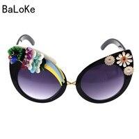 Baroque Big Designer Handmade Vintage Cat Sungalsses Flower&Rhinestone Luxury ladies Sunglasses Beach&Party Women Sunglasses