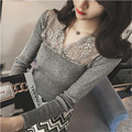 Merry Pretty New High Quality Spring Autumn Women Sweater Sexy Lace Patchwork V-neck Lady pullovers Black knitted Tops Plus Size