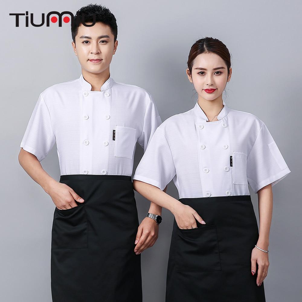 Chef Uniform White Black Chef Jacket Men Women Waiter Waitress Overalls Restaurant Food Service Canteen Cafe Chef Clothes