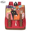 Newest High Quality Women Canvas Backpack Double Belt Cartoon Cat Printing Backpack Students Computer Bag Notebook Backpack