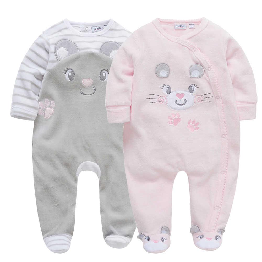 Kavkas 3 개/몫 아기 소년 소녀 겨울 rompers 귀여운 동물 패치 워크 코튼 아기 소녀 jumpsuit 신생아 잠옷