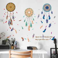 Removable Feather Dreamcatcher Wall Sticker Living Room Bedroom TV Background PVC Self-adhesive Sticker Mural Decor