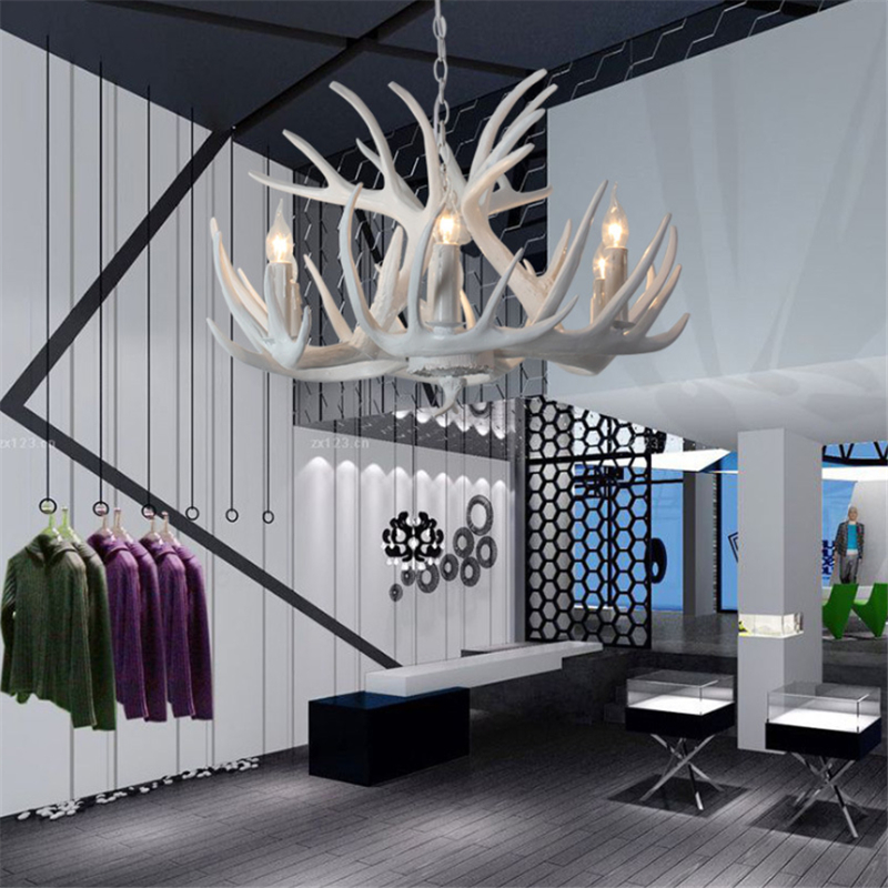 American Rural Creative Personality White Antler Chandeliers Living Room Restaurant Resin Chandeliers Free Shipping