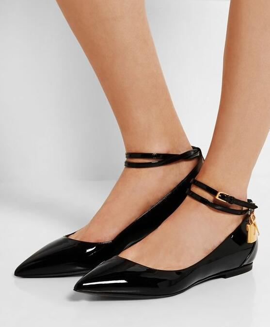 Silver Patent Leather Women Spring Flats Sexy Pointy Toe Ladies Ankle Buckles Ballet Flats Elegant Style Flats miquinha silver patent leather pointed toe women ballet flats ankle strappy metallic lock metal decoration party women shoes