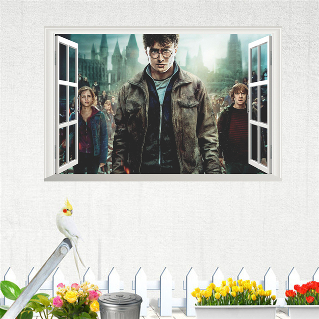 3d magic harry potter window wall decals for kids rooms home decor