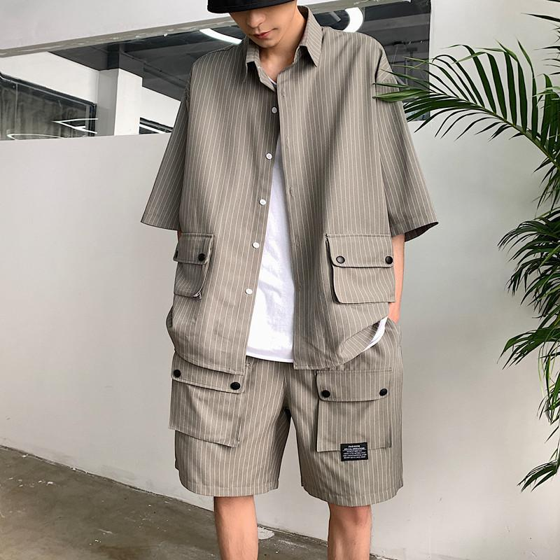 M-2XL Short Sleeve Tracksuit Men Double Pockets Striped Shirt+Shorts Two Piece Set Summer Japanese Streetwear Male Clothes XXL