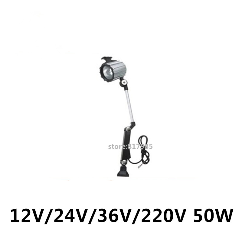 High quality Best price 12V 24V 36V 220V 50W halogen machine tool working light mill lathe working lamp short arm machine tool lamp work lamp 24v 12v 36v 220v 50w halogen lamp