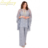 Silver Gray Lace Mother Of The Bride Pant Suits Long Sleeves Three Pieces Plus Size Groom
