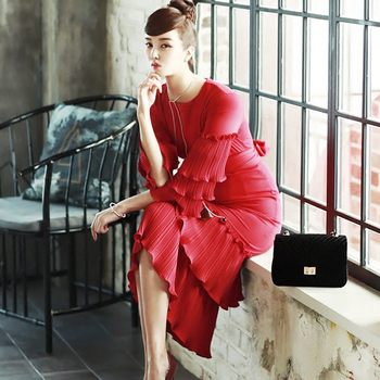 Ecombird 2018 Spring Summer Fashion Runway Women Party Dress Sexy 3/4 sleeve multi layer tie belt pleated red dress vestidos