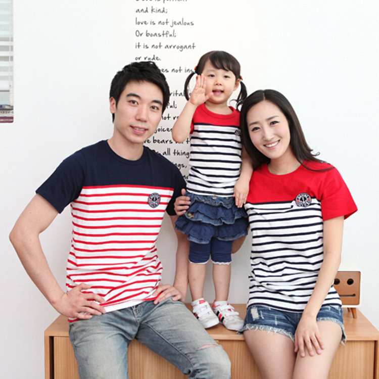 2018 Family Matching Outfits Stitching Color Striped Pure Cotton Short Sleeved Round Neck T-shirts Comfortable Family Clothing