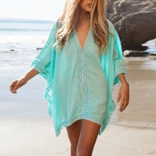 New Women Girl Beachwear Bikini Beach Wear Cover Up Kaftan Summer Shirt Dress Swimwear