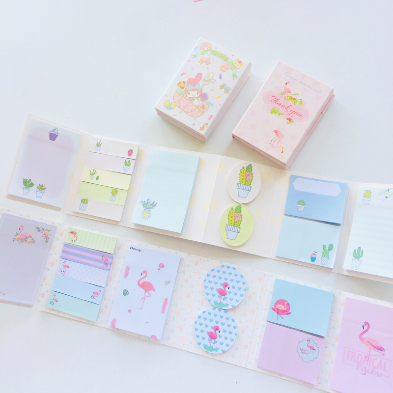 1PC Kawaii Flamingo Cactus 6 Folds Memo Pads Marker Message Decorative Sticky Notes School Office Supply