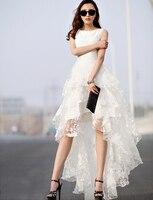 Beyaz Dantel Çiçek Katmanlı Kolsuz Yuvarlak Boyun Elbise Yüksek Düşük Hem 2016 Kadın İlkbahar Yaz Yenilik Tasarımcı Kadın Zarif Giyim