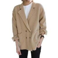 Delle donne Ha Lavorato A Maglia Cardigan moda Autunno giacca Monopetto Maglione Allentato poncho outwear warm knit cappotto manica lunga giacche coreano