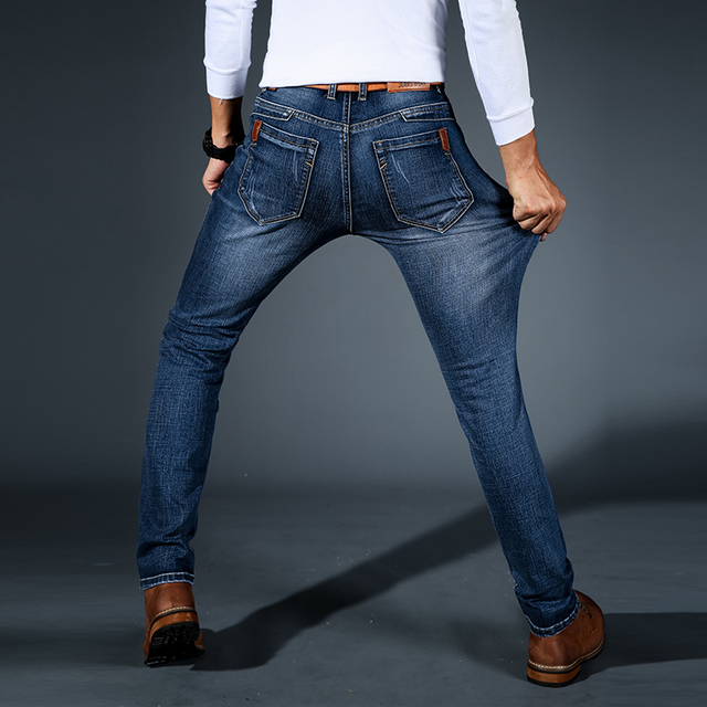 2019 New Mens Fashion Black Blue Jeans Men Casual Slim Stretch Jeans Classic Denim Pants Trousers Plus Size 28-42 High Quality