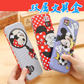 Korea Creative Fashion Cartoon Stationery Mickey Minnie Cute Metal Pencil Case School Kawaii Pencil Case Large Double Pen Box