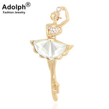 hot deal buy adolph cute vintage crystal ballet girl brooch pins female student clothers animal wedding bridal animal broochs accessories new