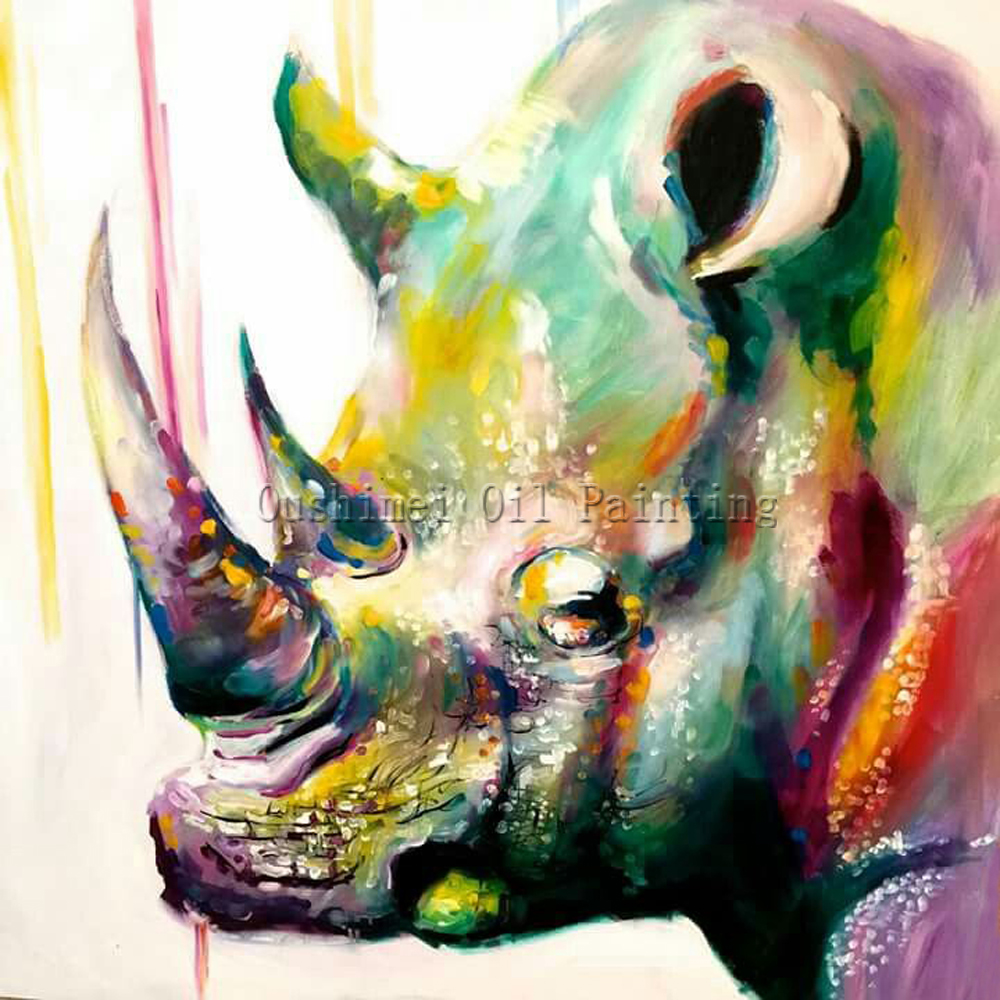 X Series Abstract Colors Hand Painted Rhinoceros Animal Oil Painting Canvas Impression