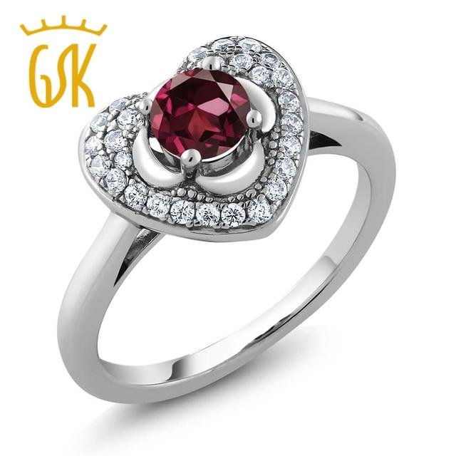 GemStoneKing 0.87 Кт Круглый Натуральный Красный Родолит Гранат Старинные Кольца Для Женщин Стерлингового Серебра 925 Сердце Кольцо