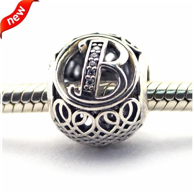 Serve para pandora pulseiras do vintage b contas com limpar cz 100% de prata esterlina 925 encantos de prata diy jóias 08le015-b