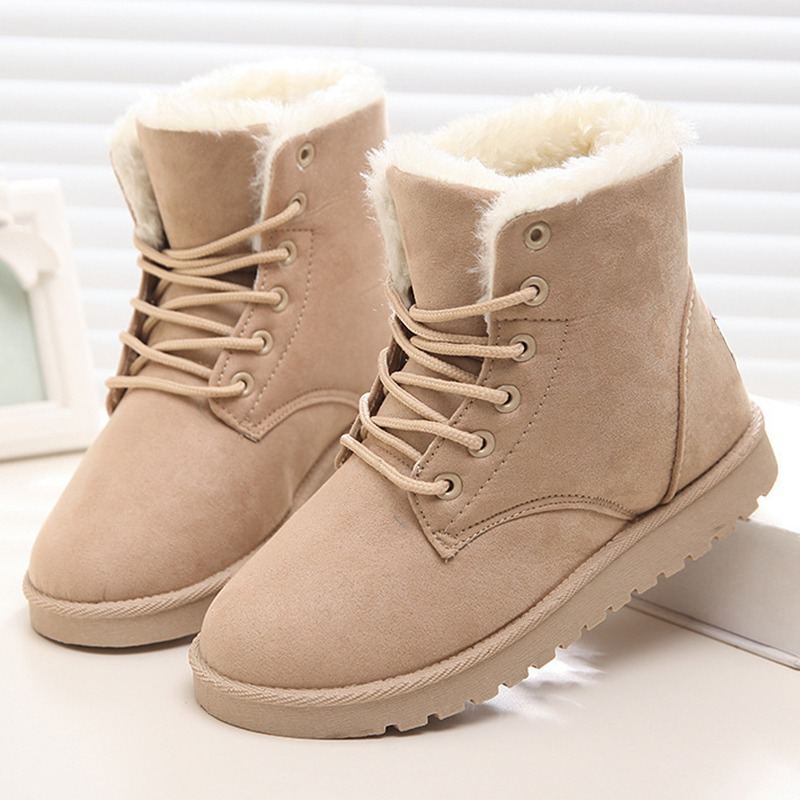 Women Bootsr Winter Suede Ankle Boots Warm Fur Winter Boots Lace-Up Female Shoes Solid Short Plush Insole Women Snow Boots 42 zorssar 2017 new classic winter plush women boots suede ankle snow boots female warm fur women shoes wedges platform boots