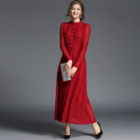 New High End Women Lace Long Sleeve Dress Fashion Elegant Spring Autumn Red Black Put On