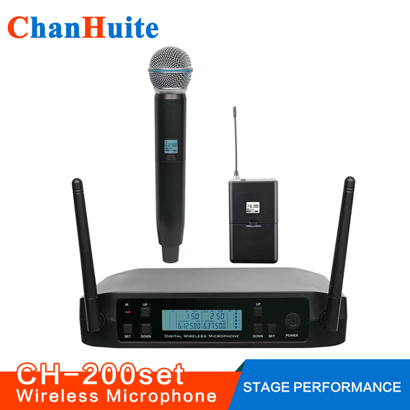UHF Lavalier Handheld Wireless Microphone System Vocal Microfone Professional Cordless Headset Mic for Stage Show Church School bardl us 132 2 channels uhf infrared frequency lcd 200 frequency adjustable wireless microphone handheld lavalier headset