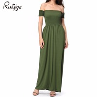 RUIYIGE Women Off The Shoulder Maxi Long Party Dress Sexy Tunic Beach Maxi Dresses Vestidos 2017